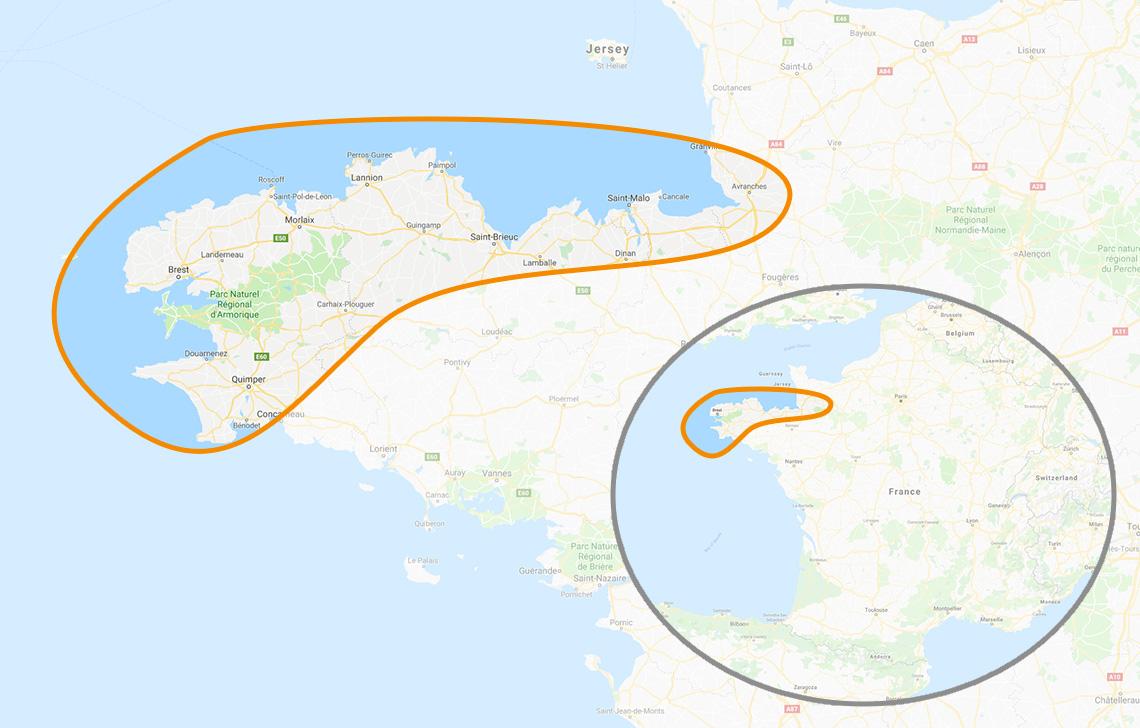 Mappa Bretagna