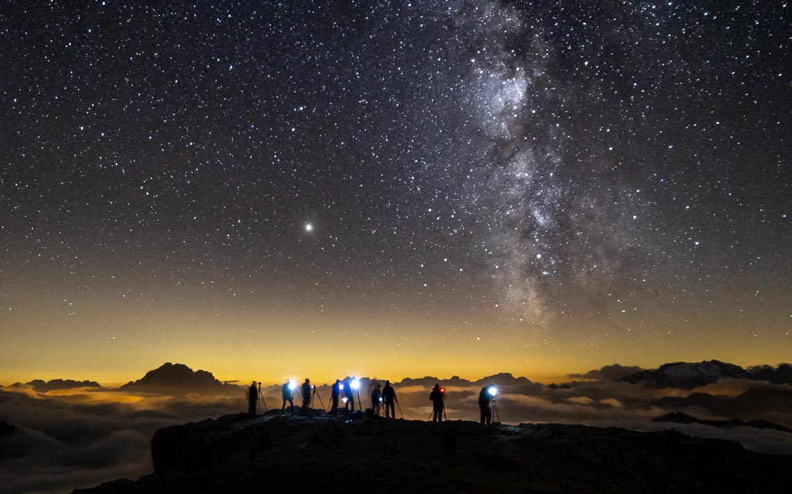 Dolomiti Rifugi Nikon School Workshop Paesaggio Notturna Via Lattea Startrail 00058